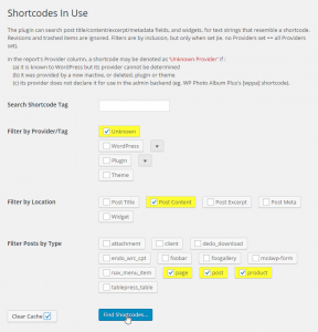 "A screenshot of the ""Shortcodes in Use"" search settings screen showing all the options available."