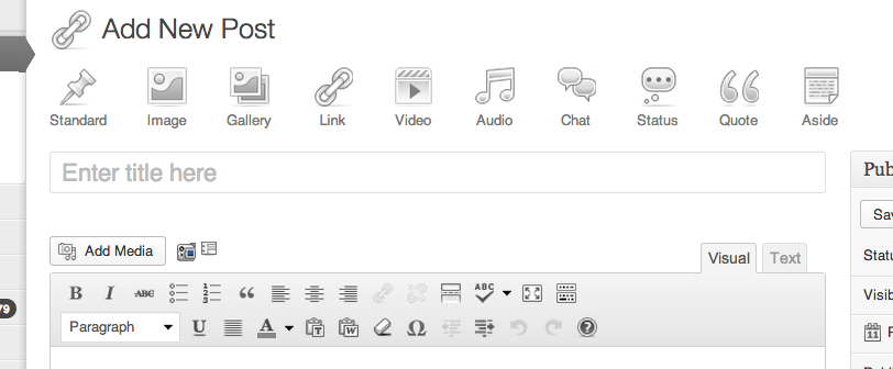 First public Post Formats UI screenshot from the WordPress Core 3.6 team.