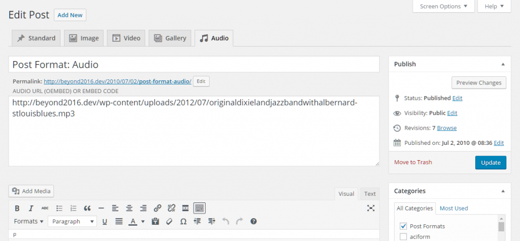 Admin UI for the Post Format Admin UI with current WordPress admin.