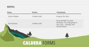 Caldera Forms Entries Shortcode