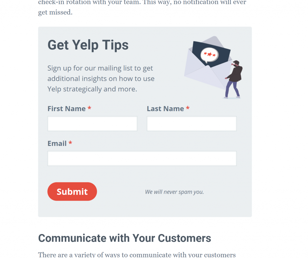 "This optin says ""Get Yelp Tips: Sign up for our mailing list to get additional insights on how to use Yelp strategically and more."""