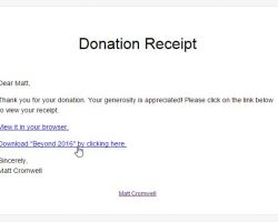 This shows the attachment link appearing directly in the donation email receipt